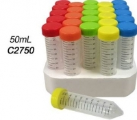 Weber Scientific C2750 Tubes, Centrifuge w/rainbow caps, 50 mL, sterile, 25/foam rack, 500/BX